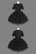 Gothic Princess Lolita Dress Black Japanese Style Soft Sister Layered Dress