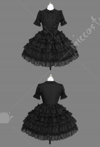 Gothic Princess Lolita Dress Black Japanese Style Soft Sister Layered Dress