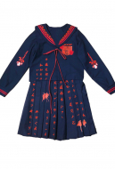 Dark Gothic Gun and Rose Thorns and Heart Costumes Gothic JK Uniform Skirt Suit