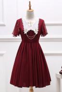 Dark Gothic Court Retro Lolita European Dress Lolita Elegant Dark Flower Pattern Dress