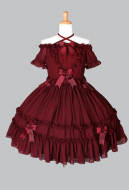Dark Gothic Off the Shoulder Halter Neck Dress Wasp-waisted Princess Lolita Court Dress