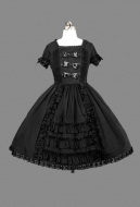 Gothic Princess Lolita Court Dress Black Gothic Victorian Short Dress