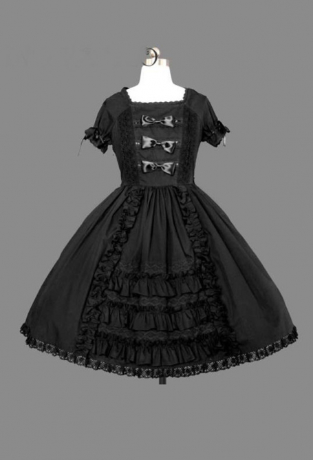 Gothic Princess Lolita Court Dress Black Gothic Victorian Short Dress