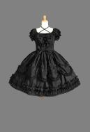 Dark Gothic Lolita Lace Short Dress Sweet Princess Lolita Court Dress
