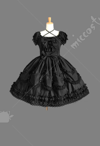 Dark Gothic Lolita Lace Short Dress Sweet Princess Lolita Court Dress