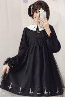 [Free US Economy Shipping] Japanese Style Gothic Cross Hexagram Pattern Maiden OP Lolita Dress