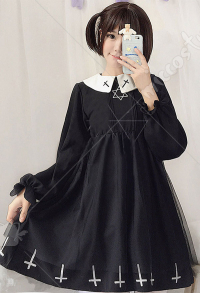[Free US Economy Shipping] Japanese Style Gothic Cross Hexagram Pattern Maiden OP Lolita Dress