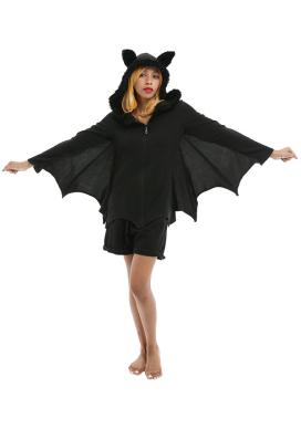Halloween Adults Women Bat Wings Cozy Coat Costume Homewear Hooded Top Loungewear Polar Fleece Costume Outfits