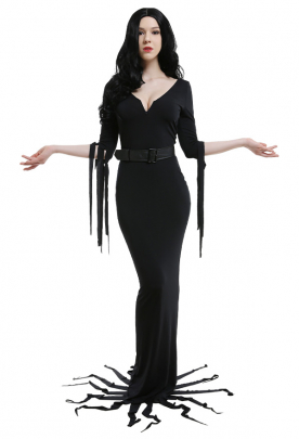 The Vampira Show Vampira Halloween Gothic Dark Style Deep V Shape Collar Long Sleeves High Waisted Dress Cosplay Costume Outfits with Leather Belt