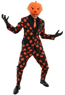 Adult Men Pumpkin Suit Set For Halloween Party with Tie