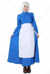 [Free Shipping]Howls Moving Castle Sophie Blue Dress Cosplay Costume