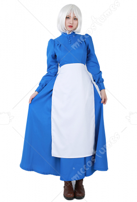 [Free US Economy Shipping] Howls Moving Castle Sophie Blue Dress Cosplay Costume
