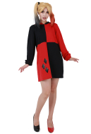 Supervillain Red & Black Hoodie Coat Cosplay Costume Inspired by Harley Quinn Make to Order