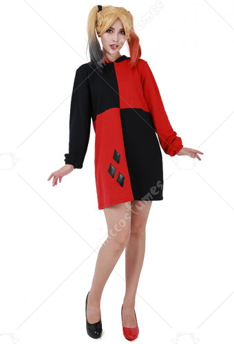 [Free US Economy Shipping] Supervillain Red & Black Hoodie Coat Cosplay Costume Inspired by Harley Quinn Make to Order