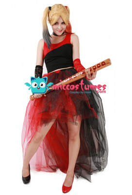 Harley Quinn Cosplay Red & Black Punk Dress Cosplay Costume