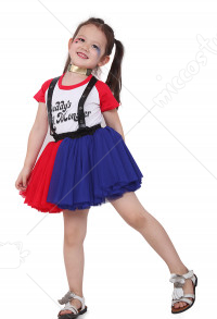 Joker Girl Red and Blue Dress Costume for Kids