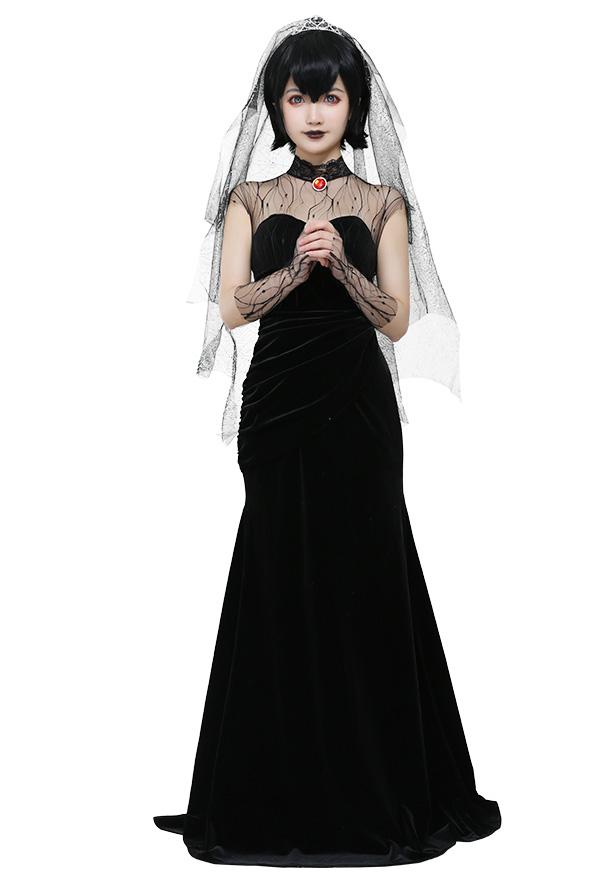Hotel Transsilvanien 2 Mavis Dracula Schwarz Hochzeit Kleid Samt Brautkleid Cosplay Kostüm mit Spinnennetz Schleier für Halloween