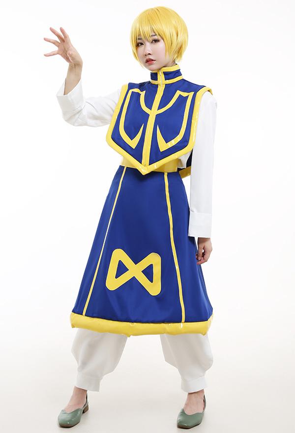 Hunter × Hunter Kurapika Anzug Cosplay Kostüm Kleid Lange Ärme Rollkragen Top Hosen Kurz Umhang Cosplay Kostüm