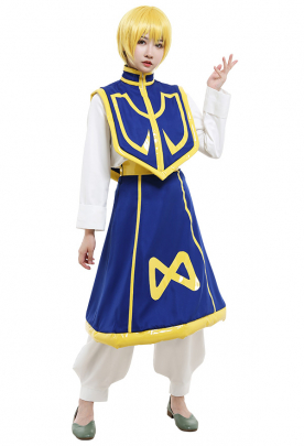 Hunter x Hunter Kurapika Long Sleeves Suit Cosplay Costume Outfit with Cloak and Outer Skirt