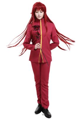 Yu Yu Hakusho Shuichi Minamino Kurama Cosplay Costume High Collar Zipper Up School Uniform Style Red Jacket Outfit with Pants