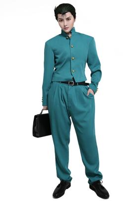 Yu Yu Hakusho Yusuke Urameshi Cosplay Costume Stand Collar Button Up School Uniform Style Green Outfit with Belt Pants