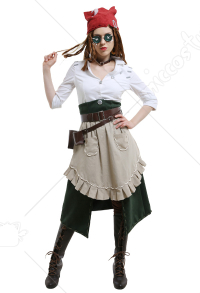 Identity V Barmaid Demi Bourbon Survivor Classic Female Pirate Button-Up Shirt and Jeans Cosplay Costume Outfits Set with Tan Waist Apron and Belt Group
