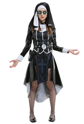 Identity V Enchantress Patricia Dorval Fate Gothic Dark Style Cross Heated Print Pattern Num Style Snap Button Adjusted Bright Leather Dress Cosplay Costume Outfits with Earrings and Belt Group