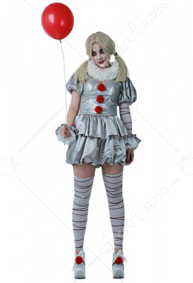 Movie It Pennywise Women Cosplay Costume the Dancing Clown Costume for Halloween  sc 1 st  Miccostumes.com : it the clown costume  - Germanpascual.Com