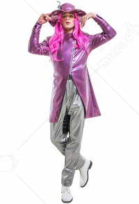 Men JoJos 6 Stone Ocean Narciso Anasui Leather Trench Coat Fullset Cosplay Costume with Hat