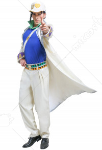 Men JoJos 4 Diamond Is Unbreakable Kujo Jotaro Trench Coat Fullset Cosplay Costume with Shoulder Strap and Cap