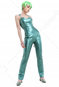 JoJos Stone Ocean Prison Foo Fighters Elastic Long Light Green Shiny Leather Rompers Pants Outfit Cosplay Costume