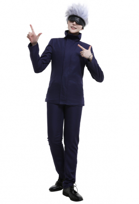 Jujutsu Kaisen Satoru Gojo Tokyo Metropolitan Curse Technical College Fake-Two DK Student School Uniform Set Long Sleeved High Collar Jacket and Pants Cosplay Costume Outfits with Eyemask