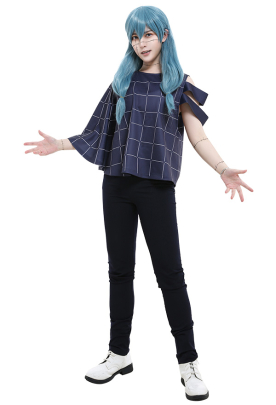 Jujutsu Kaisen Cursed Spirit Mahito One Side Strapless Strip-Shape Sleeved Grid Printed Pattern T-Shirt and Pants Cosplay Costume Outfits