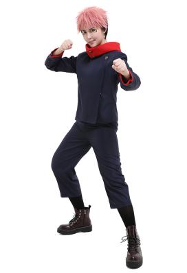 Jujutsu Kaisen Itadori Yuji Tokyo Metropolitan Curse Technical College Fake-Two DK Student School Uniform Set Long Sleeved Jacket and Pants Cosplay Costume Outfits