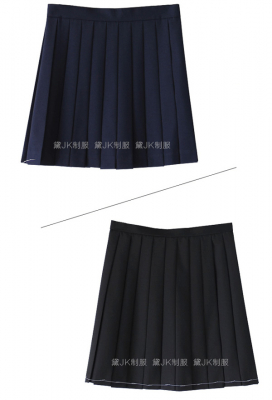 Japanese JK Uniform Black High-Waisted Pleated Skirt with Bags