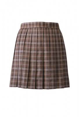 Japanese JK Uniform High Waisted Chocolate Plaid Pleated Skirt with Bags