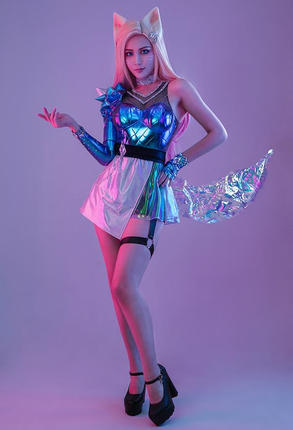 League of Legends LOL KDA  ALL OUT Ahri Frauen Gradient Cosplay Kostüm mit allem Zubehör