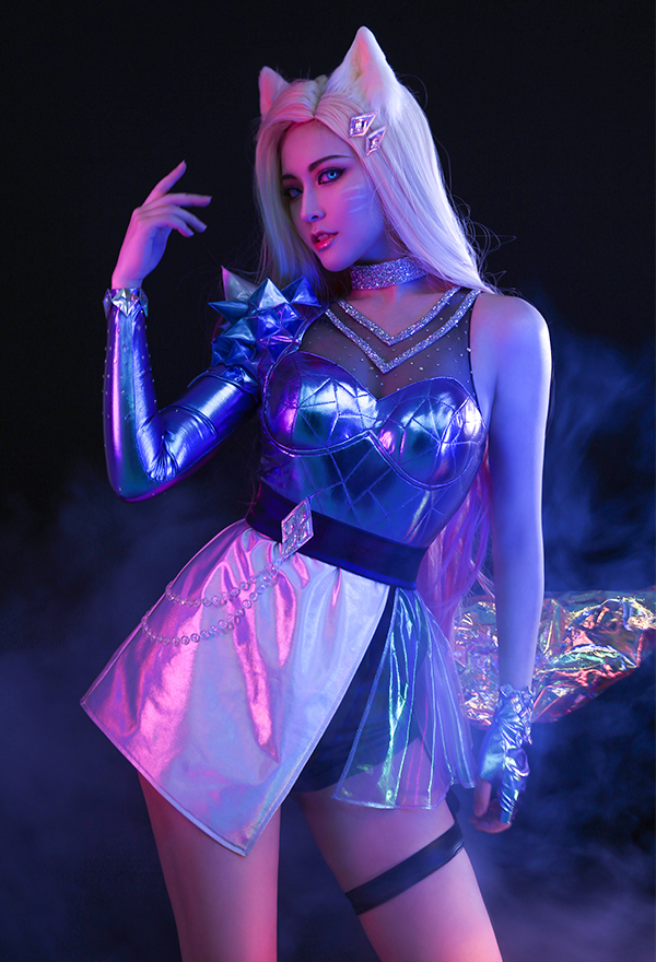 League of Legends LOL KDA  ALL OUT Ahri Frauen Gradient Cosplay Kostüm mit allem Zubehör