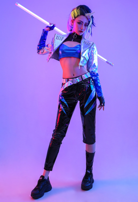 League of Legends LOL Girls New Skin Akali K/DA ALL OUT Idol Gradient Mixed Silver Color Shiny Symphony Laser Reflective Splicing Leather Cosplay Costume Full Set with Ear Rings and Embroidered Print