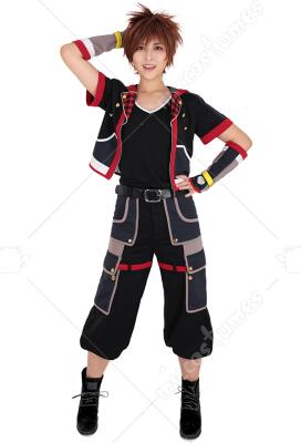 Kingdom Hearts 3 Sora Cosplay Costume black /& red