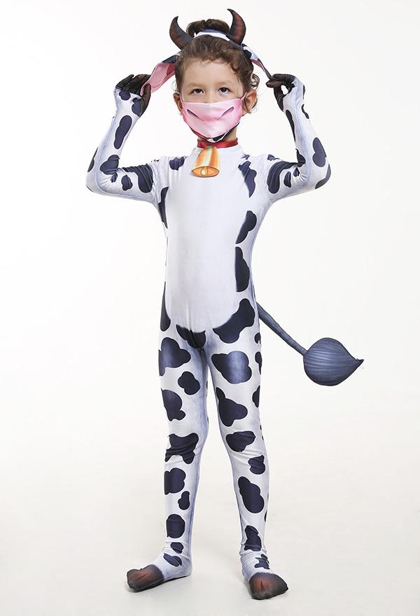 Kinder Süß Kühe Tier Halloween Party Cosplay Kostüm Zentai
