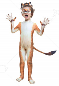 Homemade Kids Cute Lion Bodysuit Zoo Animal Zentai Suit Costume for Halloween Party with Eye Mask