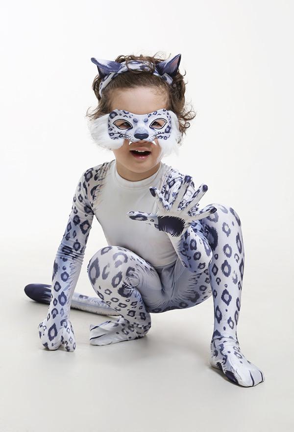 Kinder Süß Schneeleopard Tier Halloween Party Cosplay Kostüm Zentai