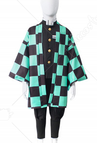 Kids Demon Slayer Kimetsu no Yaiba Kamado Tanjiro Haori Fullset Cosplay Costume with Ear Accessories