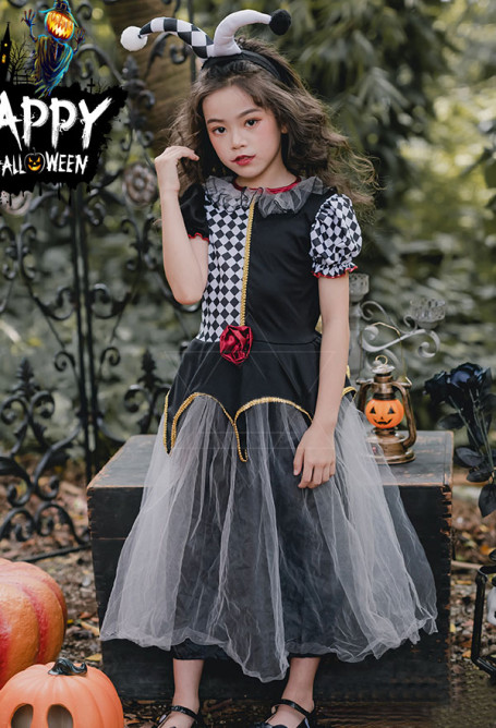 Kids Halloween Little Clown Cosplay Costume Diamond Pattern Cute Long Princess Dress with Hairband