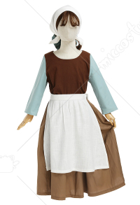 Kids Girls Cinderella Brown Housemaid Dress Cosplay Costume Full Set with Apron and Headwear Bow