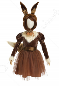 Kids Girls PM Eevee Fake Two Piece Dress Cosplay Costume Full Set with Headwear and Tail