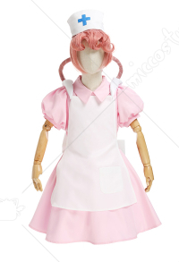 Kids Girls PM Pokemon Nurse Joy Pink Short-Sleeved Cosplay Costume Dress Outfit with Apron and Nurse Hat