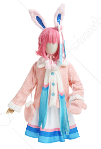 Kids Girls PM Sylveon Cosplay Costume Child Pink Cream-colored Top and Skirt Full Set with Ears Bowknot Socks