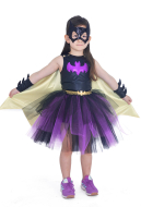 Child Batgirl Halloween Cosplay Costume Dress with Mask for Girls